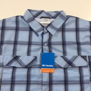 🆕 COLUMBIA Mens Large Blue Vented Pocket Shirt